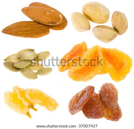 Collection set of  nuts and dried fruits heap close up  isolated on white background - stock photo