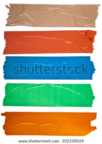 Collection set of of different colorful stripes adhesive tape, close up,  isolated on white background