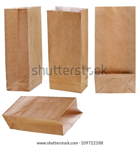 collection set of Paper bag isolated on white background