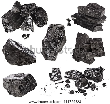 collection set of piece black coal isolated on white background