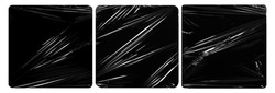 collection set of plastic wrap texture for overlay. wrinkled stretched plastic effect. transparent plastic wrap on black background.