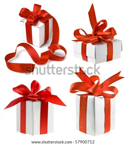 collection set of present box with red ribbon  isolated on white background