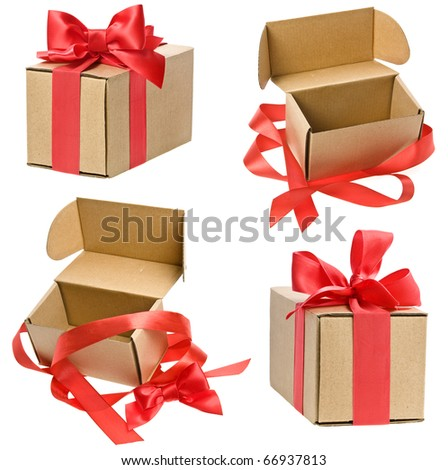 Collection set of present boxes with red ribbon bows isolated on white