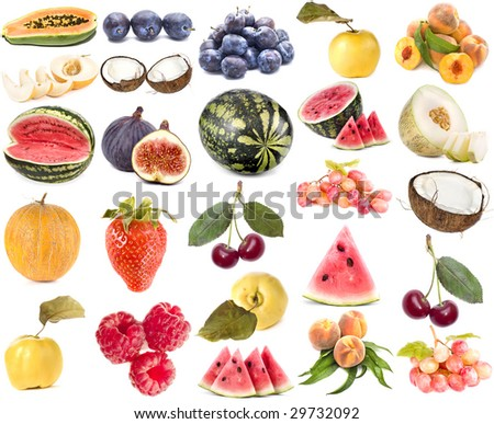 collection set of ripe berry and fruits isolated on white background