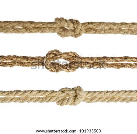 Collection set of Ropes with knot close up, Isolated on white background