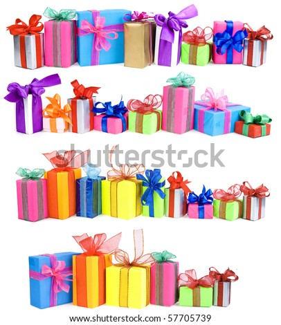 Collection set of rows colorful gift boxes with bows isolated on a white background