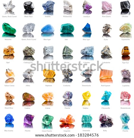 Collection set of semi-precious gemstones stones and