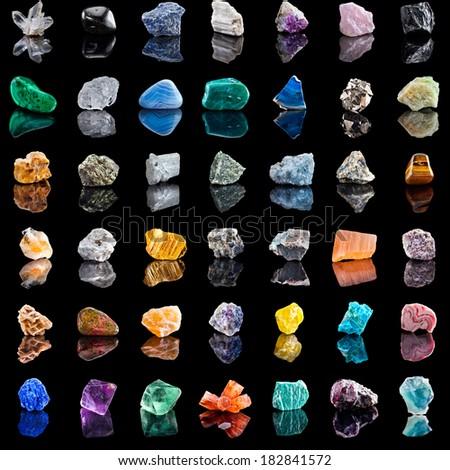 collection set of semi precious gemstones stones and