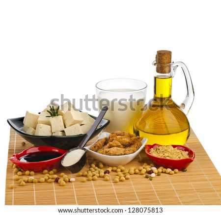 Collection set of Soy products : oil, milk, tofu, meat, sauce, isolated on white background