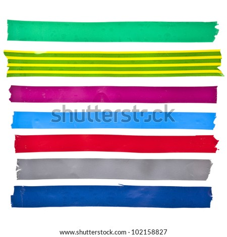 collection set of strips colorful insulating adhesive tape or different colored stickers, close up isolated on white background