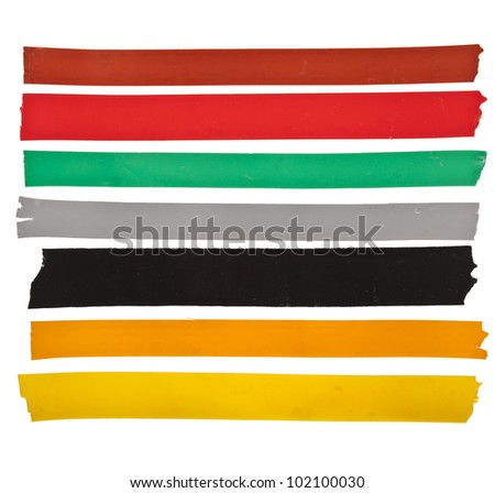 Collection set of strips of colorful insulating adhesive tape  isolated on white background