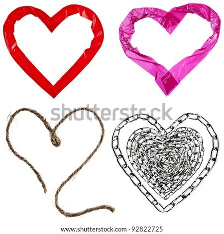 Collection set of Various kinds hearts close up isolated on white background