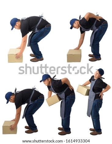 collection set portrait of Delivery man lifting heavy weight parcel boxes against having a backache isolated on white background