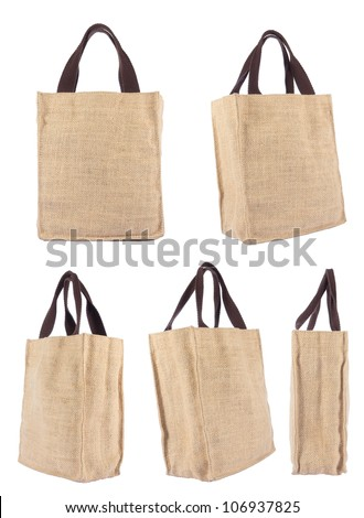 Collection Shopping bag made out of recycled Hessian sack with forming over white background