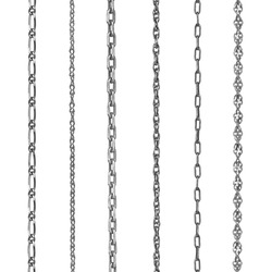 Collection  silver jewelry chains on an isolated white background