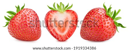 Collection strawberry. Strawberry isolate. Strawberries isolated on white background