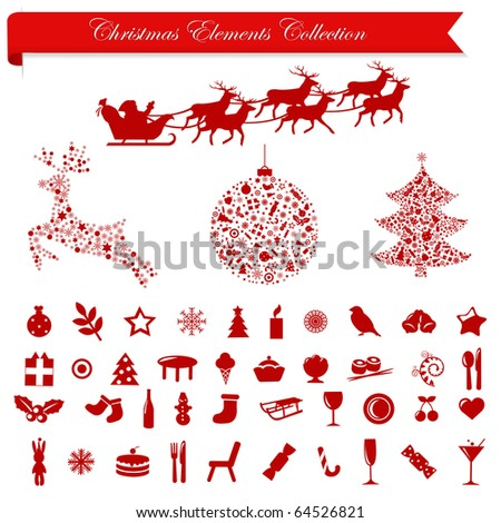 Collection Stylized Christmas Icons And Elements, Isolated On White Background - stock photo
