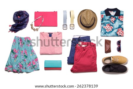 Shutterstock Collection summer clothes on a white background