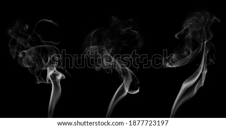 Collection swirling movement of white smoke group, abstract line Isolated on black background Foto stock ©