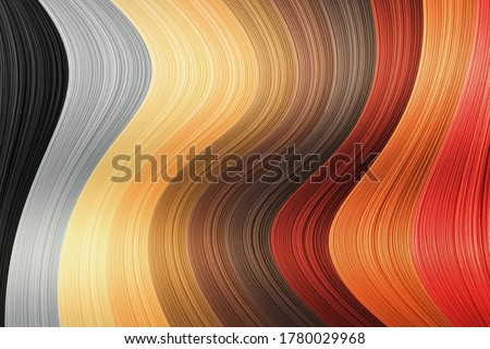 Photo of  Collection various colors of hair on white background, isolated