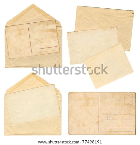 Collection vintage envelopes with old postcards