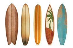 Collection vintage wooden surfboard isolated on white with clipping path for object, retro styles.
