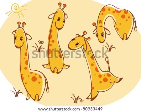 collection wild animals. giraffes.