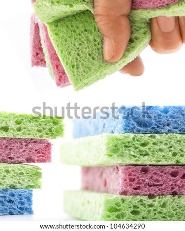 Collection Wisp of bast in hand isolated on white sponge for washing dishes