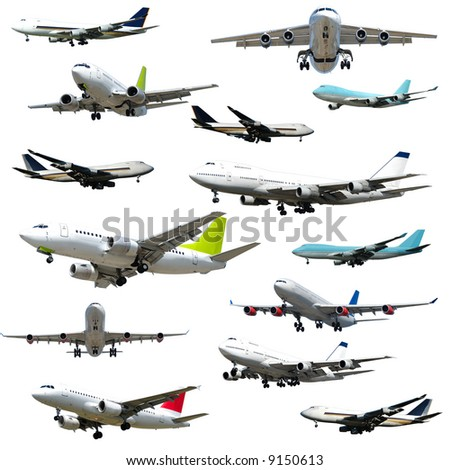 Collection with many planes isolated on a clean white background 5000 x 5000 pixels
