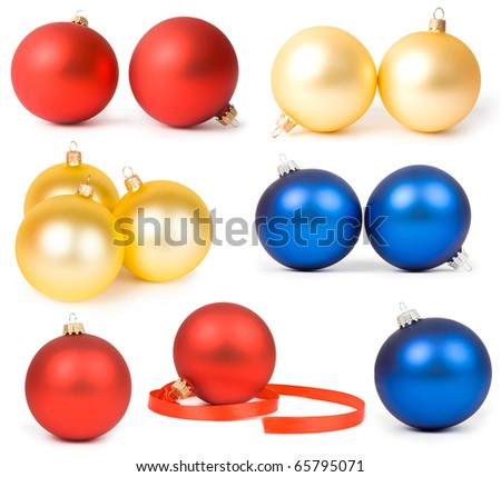 Collectionof  christmas ornaments isolated on a white background