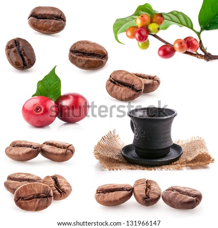Collections of roasted and red coffee beans drink a cup of coffee isolated on white background