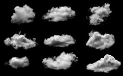 Collections of separate white clouds on a black background have real clouds. White cloud isolated on a black background realistic cloud. white fluffy cumulus cloud isolated cutout on black background