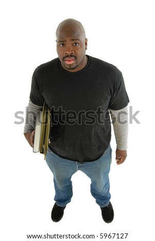 Colled student with binder and textbook standing, looking confused; cleanly isolated on white