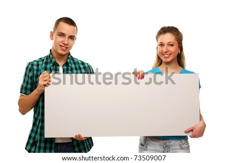 College girl and boy with a blank