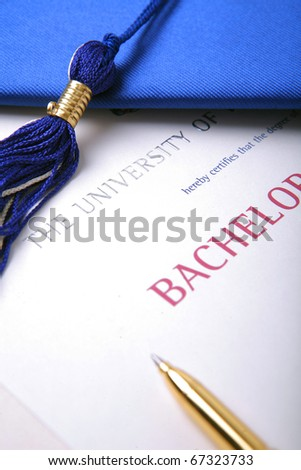 college graduation hat with university diploma and pen. certificate of achievement.