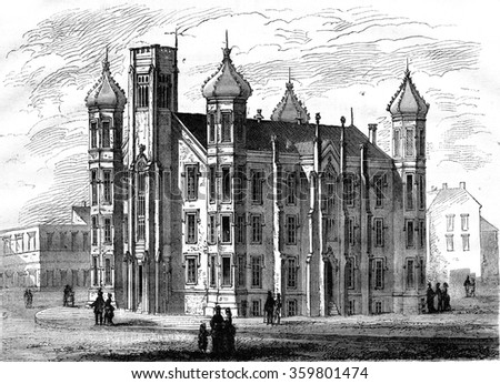 College of St. Louis Missouri, vintage engraved illustration. Magasin Pittoresque 1876.