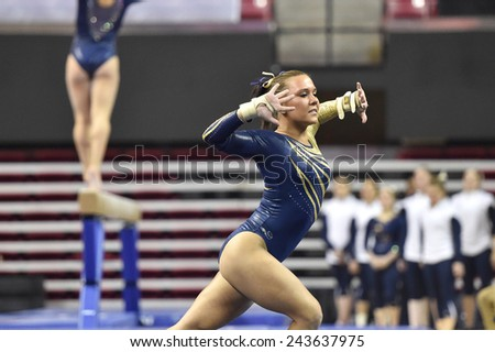 COLLEGE PARK, MD - JANUARY 9: WVU gymnast Alexa Goldberg performs on floor exercise during a meet January 9, 2015 in College Park, MD.