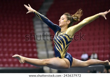 COLLEGE PARK, MD - JANUARY 9: WVU gymnast Dayah Haley performs on the floor exercise during a meet January 9, 2015 in College Park, MD.