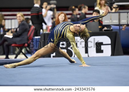 COLLEGE PARK, MD - JANUARY 9: WVU gymnast Melissa Idell performs on the floor exercise during a meet January 9, 2015 in College Park, MD.