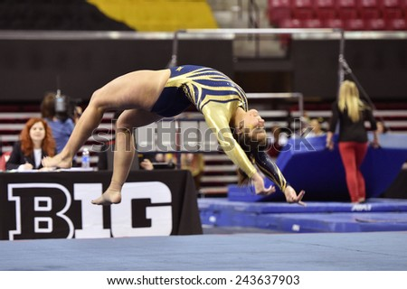 COLLEGE PARK, MD - JANUARY 9: WVU gymnast Nicolette Swoboda performs on floor exercise during a meet January 9, 2015 in College Park, MD.