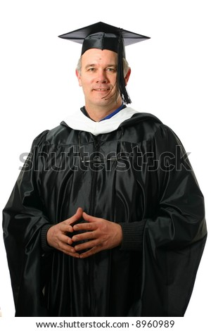 College professor wearing regalia for graduation