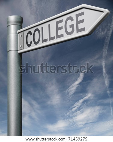 college road sign clipping path arrow pointing towards good education and knowledge learn to know educate yourself and go to school
