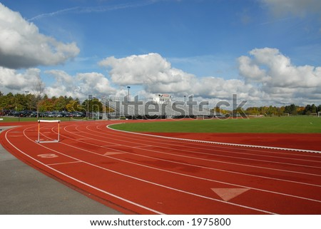 College running track with hurdle, Rochester, New York
