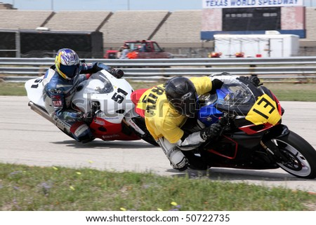 COLLEGE STATION, TX - APRIL 10: Ram Rod Racing team bike leads the ODB\'S team bike in the six-hour endurance race for super bikes at Texas World Speedway April 10, 2010 in College Station, TX