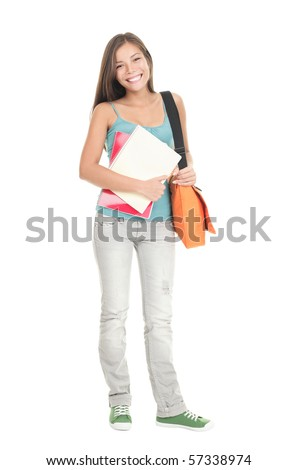 College Student girl. Isolated full length portrait of a beautiful young asian woman student. Beautiful smiling mixed race caucasian / chinese young woman model. Isolated on white background