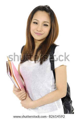 college student girl with book and bag isolated