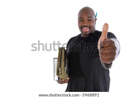 College student giving thumbs up to show just how fun and exciting learning can be; focus on hand