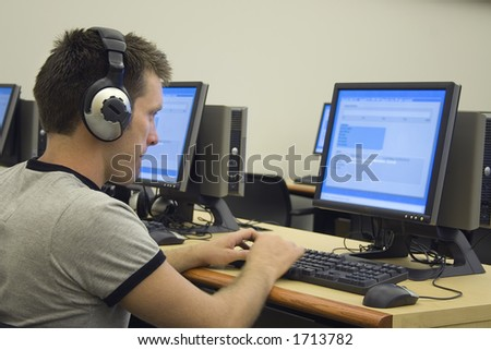College student using computer lab.