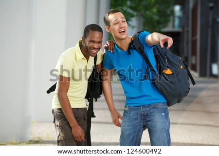 College students laughing on campus
