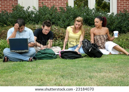 College students outside classroom or dorm.